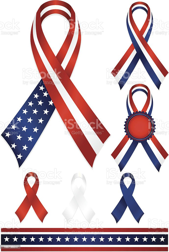 Patriotic Awareness or Award Ribbons Set in Red, White, Blue royalty-free stock vector art