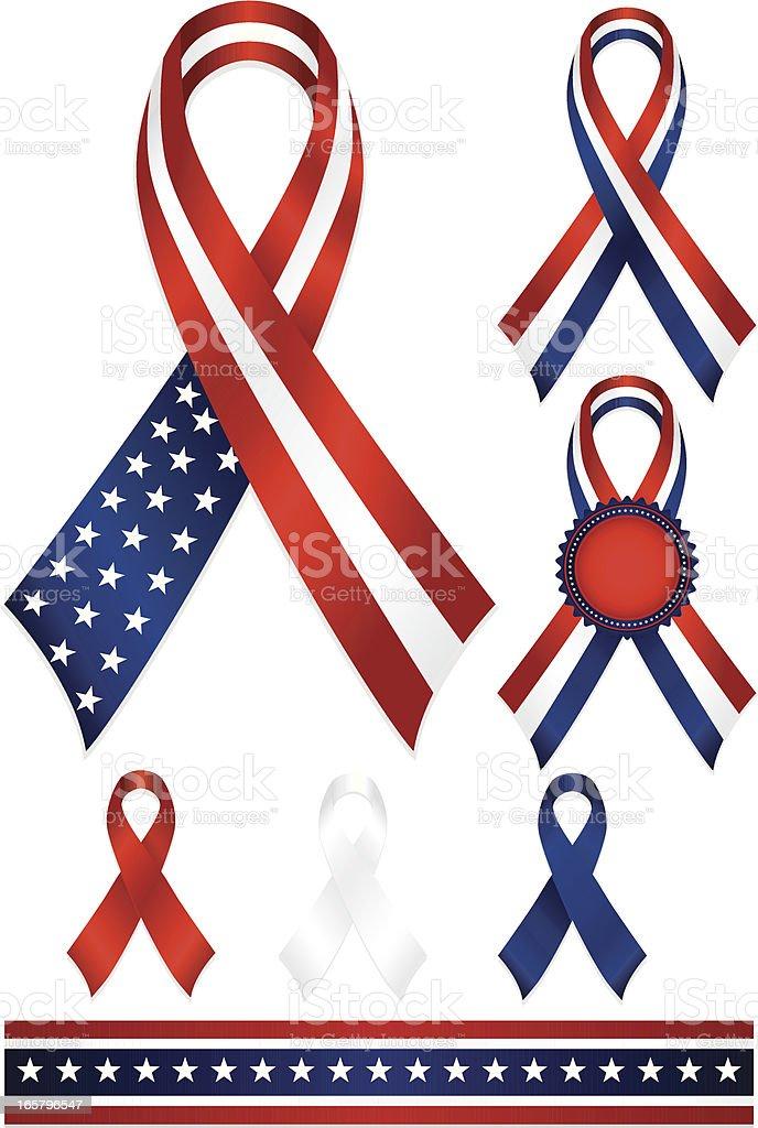 Patriotic Awareness or Award Ribbons Set in Red, White, Blue vector art illustration