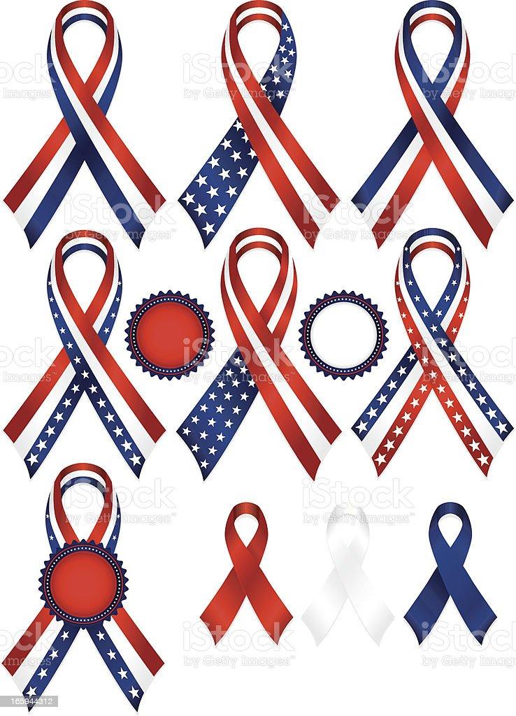 Patriotic Awareness or Award Ribbons Set in Red, White, Blue royalty-free stock vector art