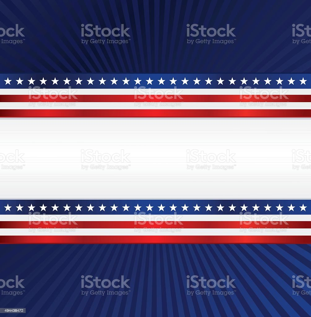 Patriotic Background: Red, White, Blue with Stars, Stripes vector art illustration