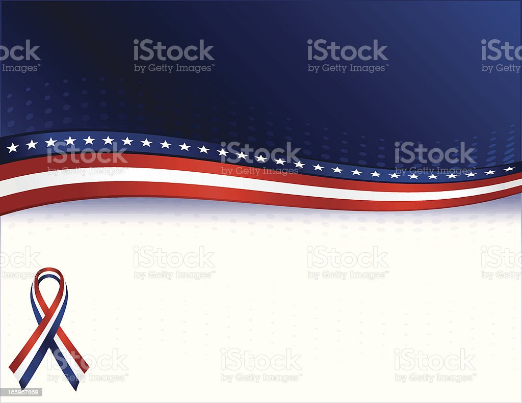 Patriotic Background with Optional Awareness Ribbon: Red, White, Blue royalty-free stock vector art