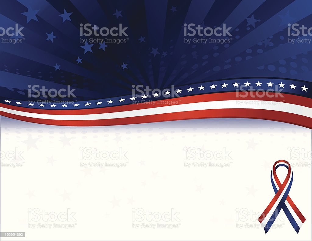 Patriotic Background with Stars Overlay: Red, White, Blue royalty-free stock vector art