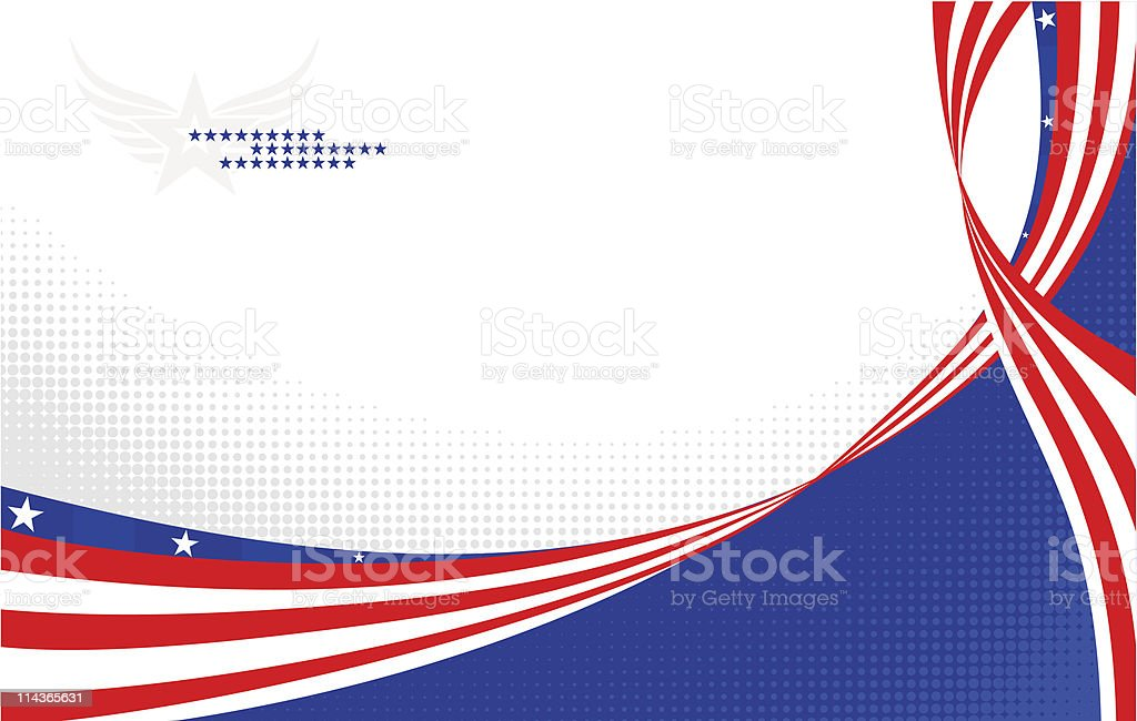 A patriotic banner of blue, red and white with stars royalty-free stock vector art