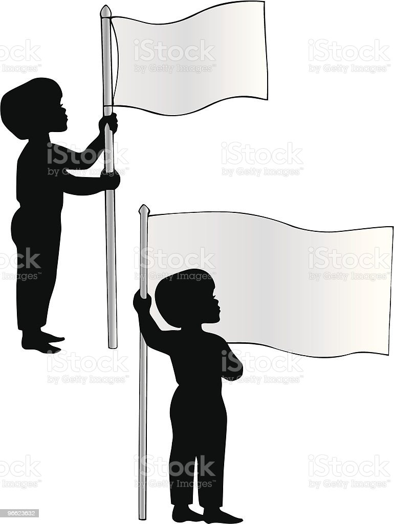 Patriotic Boys Pledging allegiance to Flag vector art illustration