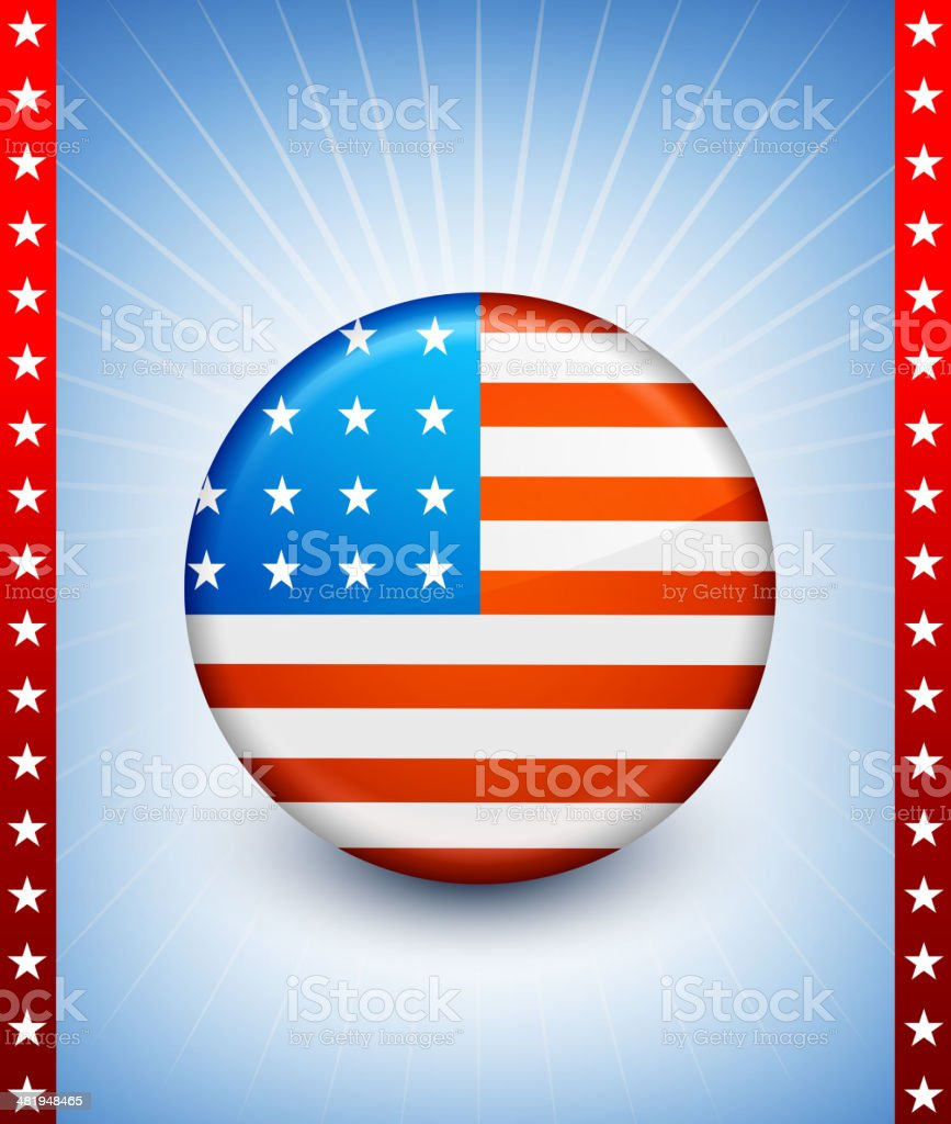 USA patriotic buttons on American Background royalty-free stock vector art
