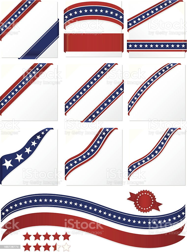Patriotic Corner Ribbons, Banners Set: Red, White, Blue royalty-free stock vector art