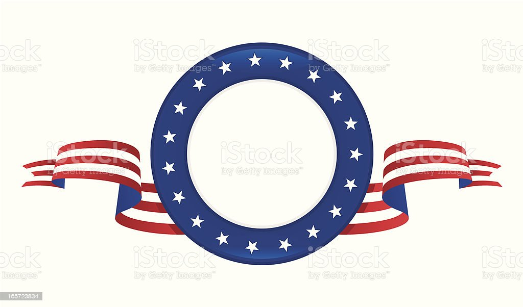 Patriotic emblem with stars and stripes  vector art illustration