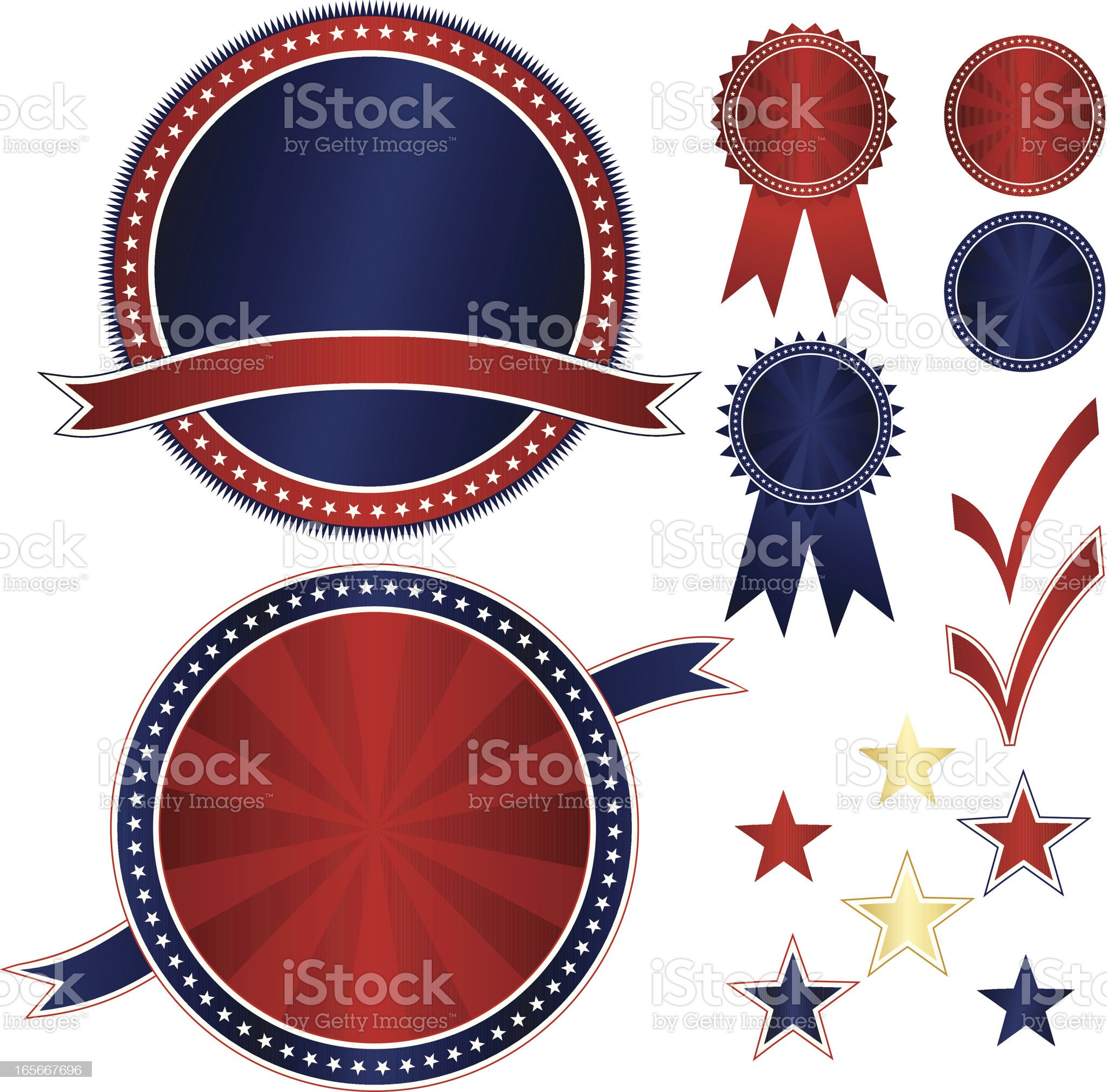 Patriotic Emblems and Stickers Set - Red, White, Blue, Gold royalty-free stock vector art