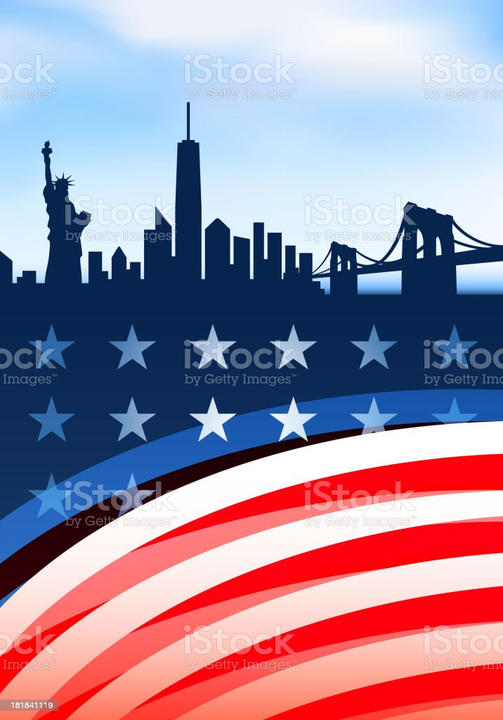 Patriotic New York skyline panoramic Collection with Statue of Liberty vector art illustration