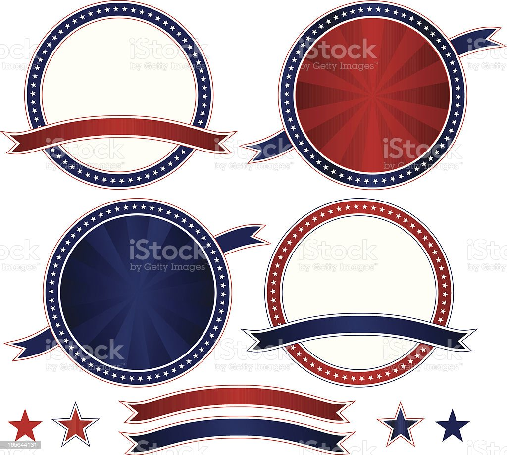 Patriotic or Fourth of July Emblems Set royalty-free stock vector art