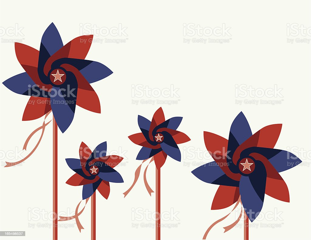 Patriotic Pinwheels vector art illustration
