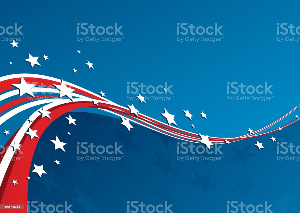 A patriotic red, white and blue background vector art illustration