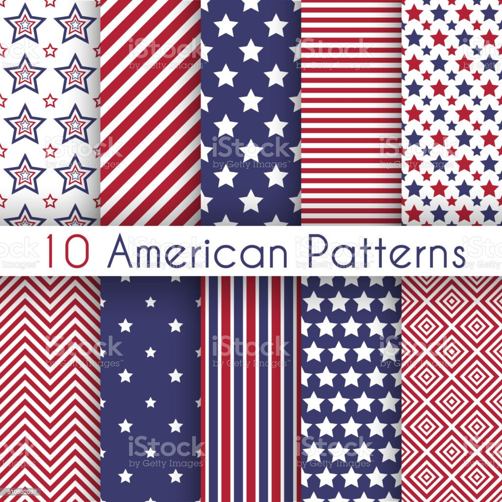 Patriotic red, white and blue geometric seamless patterns vector art illustration