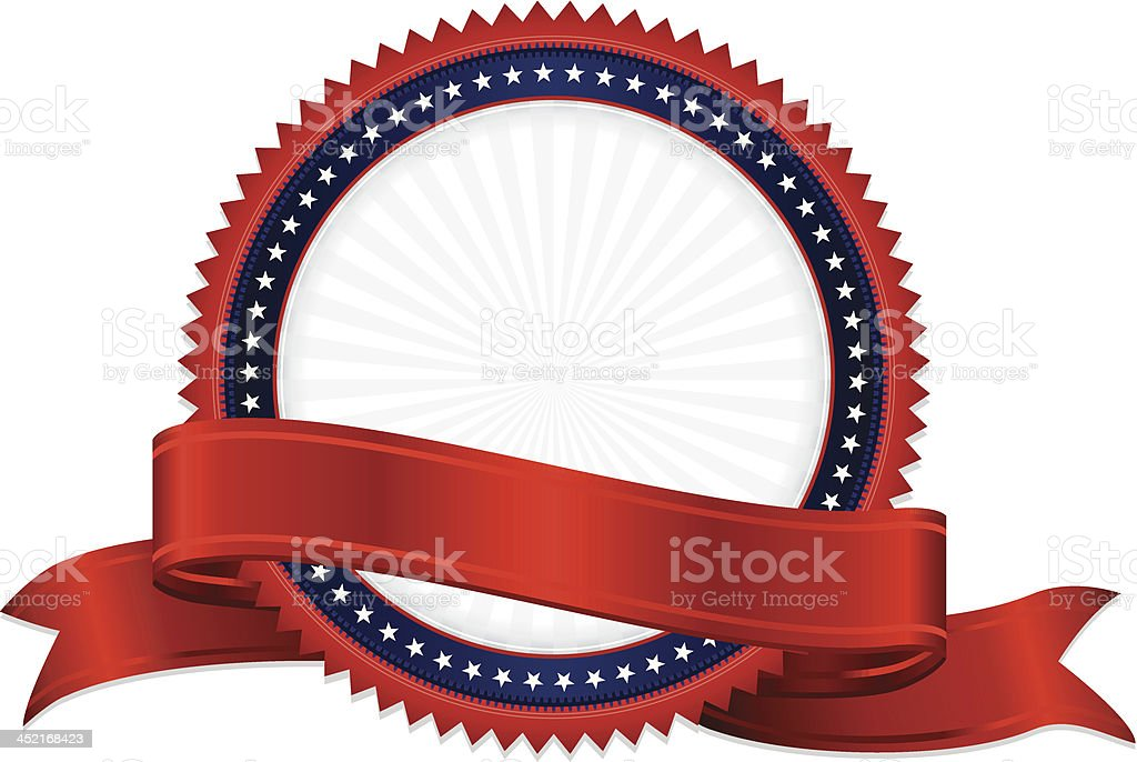 Patriotic red, white and blue sticker with a red ribbon vector art illustration