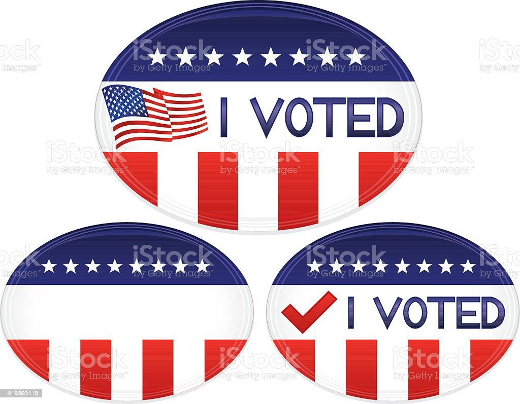 Patriotic Red, White, Blue Buttons, Stickers, Flag, I VOTED Text vector art illustration