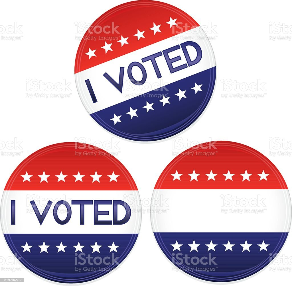 Patriotic Red, White, Blue Buttons, Stickers, Optional I VOTED Text vector art illustration