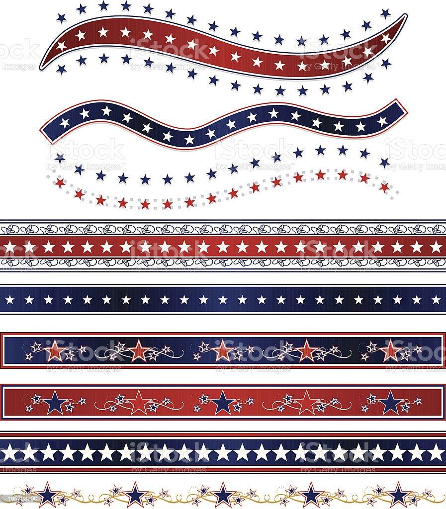 Patriotische Bänder, Grenzen und Sternen-Set: Rot, Weiß Blau Lizenzfreies vektor illustration