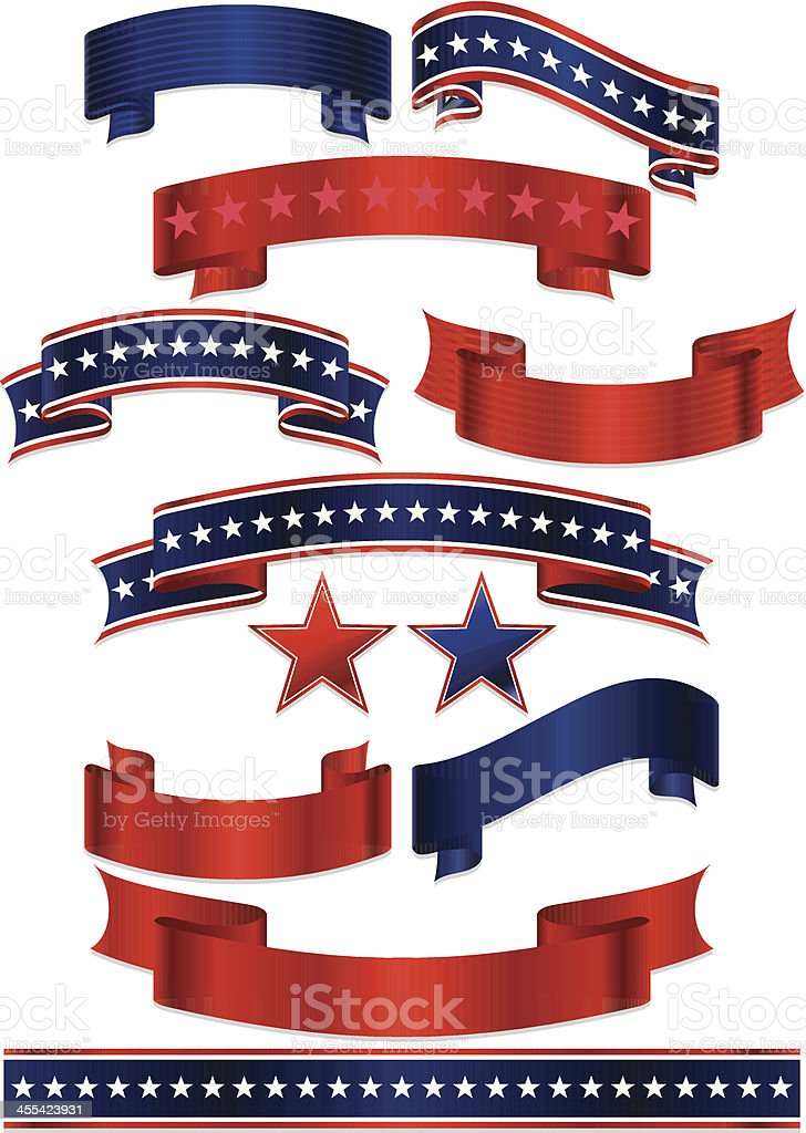 Patriotic Ribbons, Stickers, and Stars Set: Red, White, Blue royalty-free stock vector art