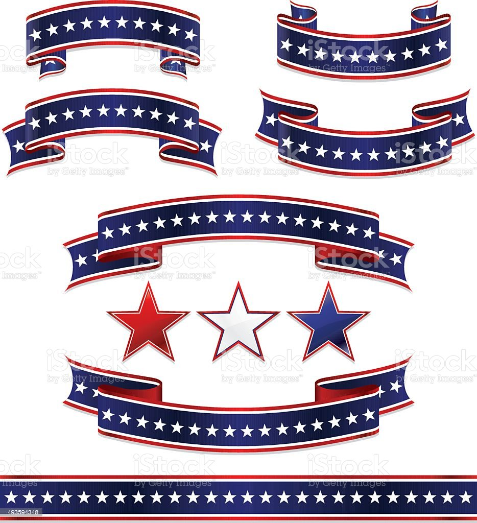 Patriotic Ribbons, Stickers, and Stars Set: Red, White, Blue vector art illustration