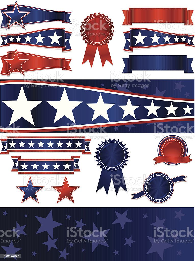 Patriotic Ribbons, Stickers, Banners, Backgrounds, Stars Set: Red, White, Blue royalty-free stock vector art