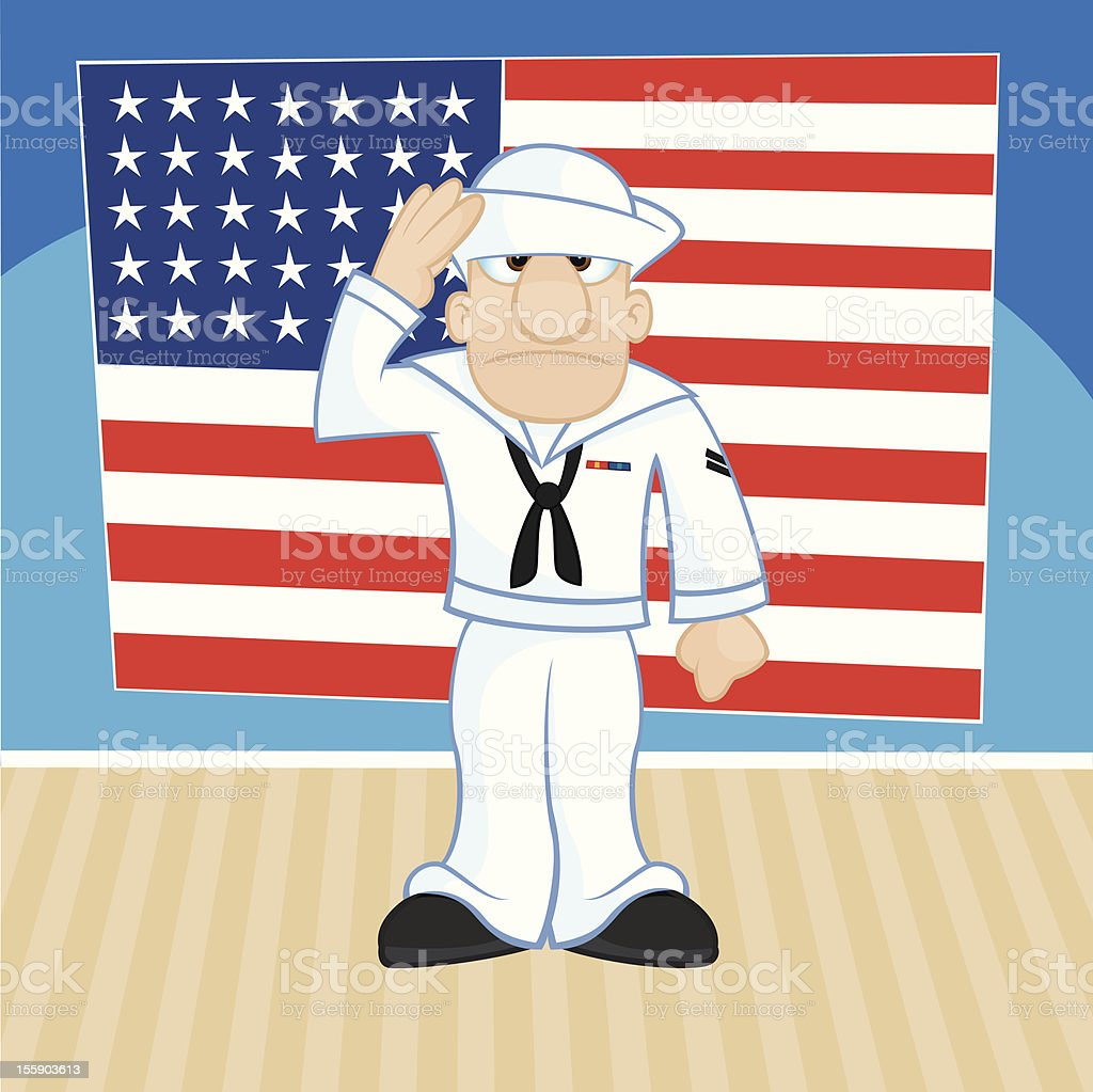 Patriotic Sailor in Front of Flag Illustration royalty-free stock vector art
