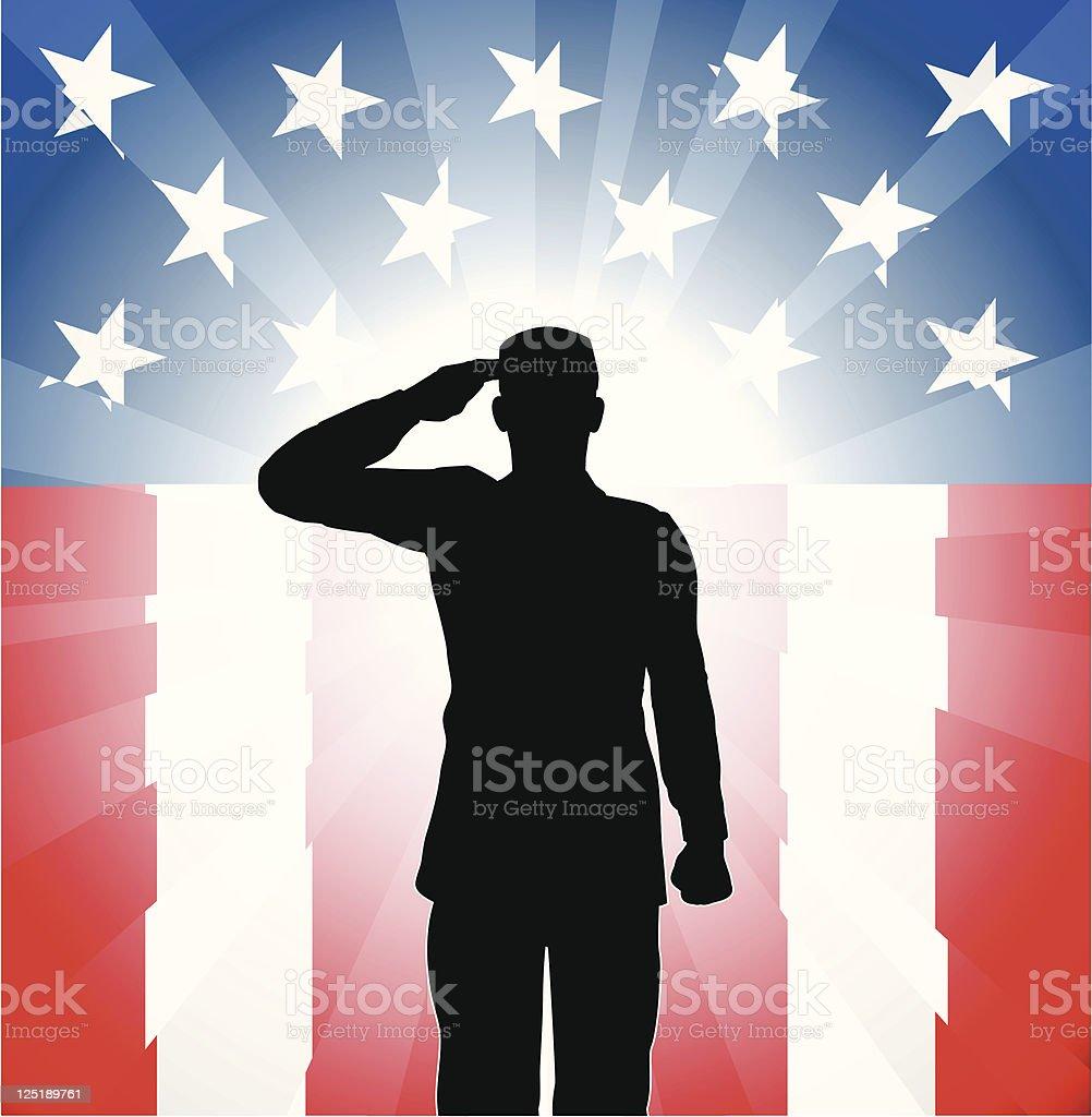 Patriotic soldier salute vector art illustration