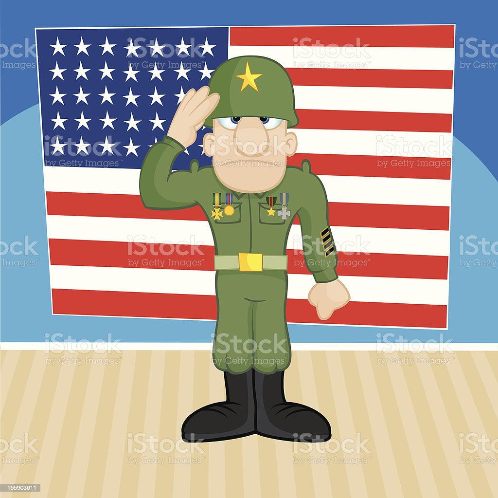 Patriotic Soldier Vector Cartoon Illustration royalty-free stock vector art
