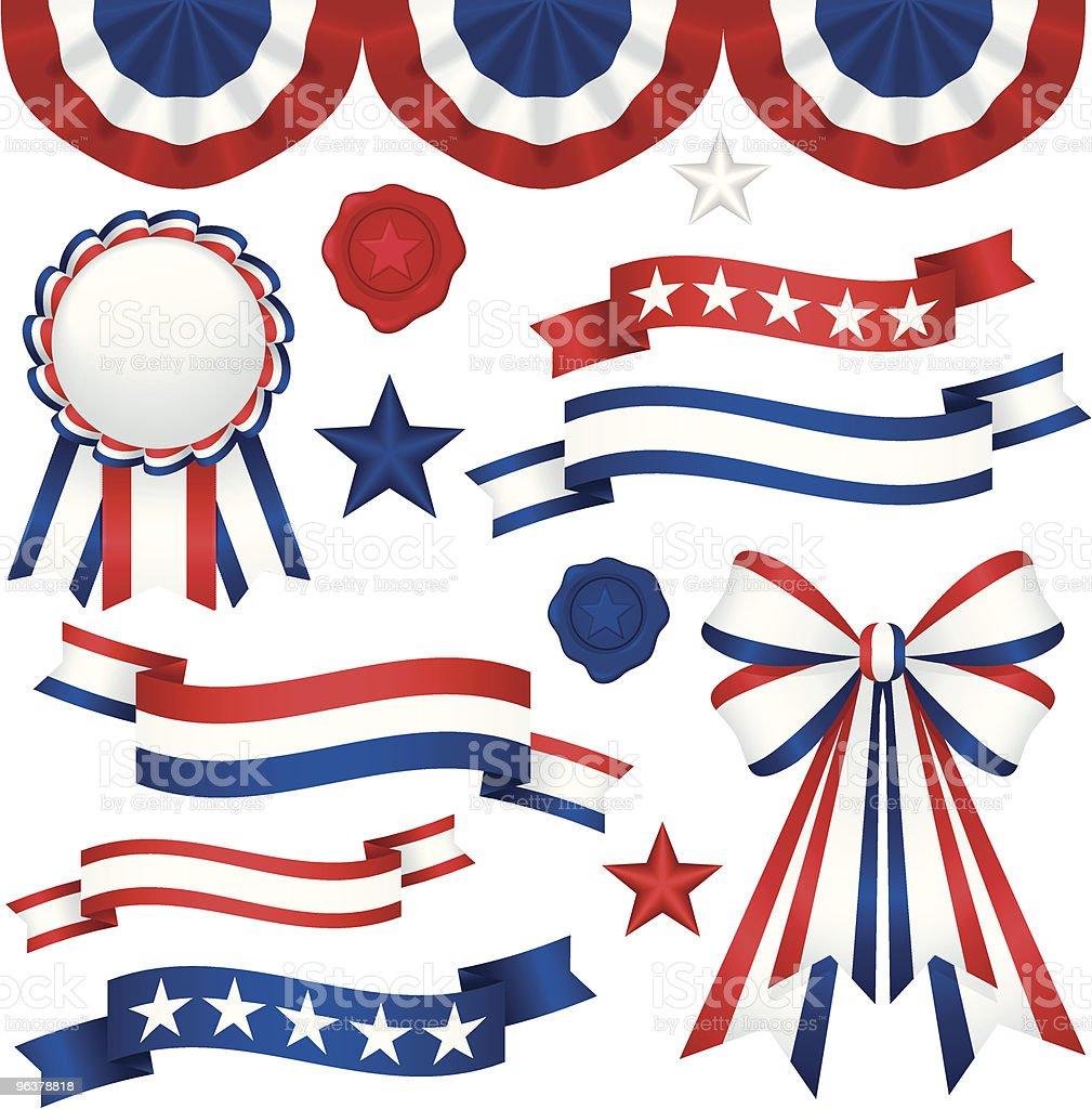 Patriotic themed red, white and blue ribbons and bunting vector art illustration