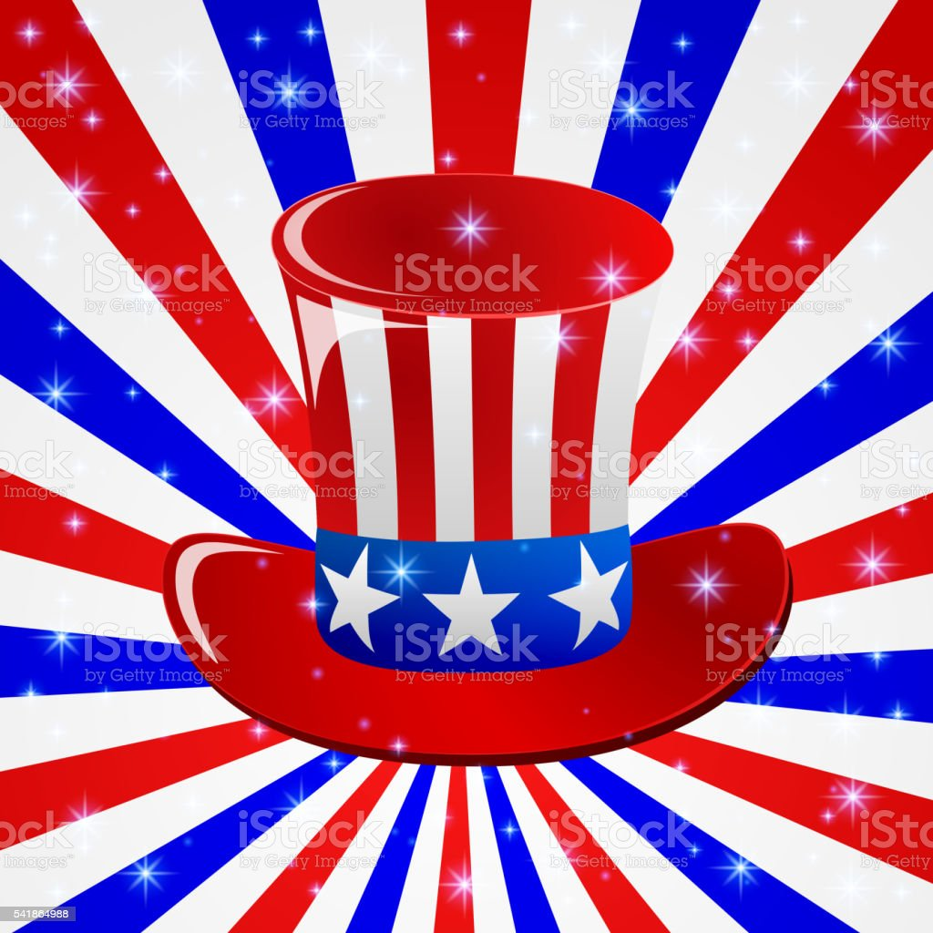 Patriotic Uncle Sam hat for 4th of July public holiday vector art illustration