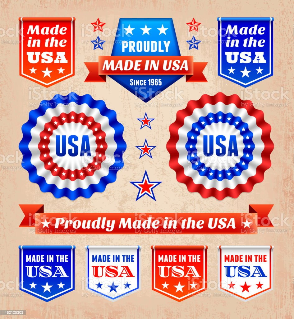 Patriotic USA Banners, Badges, and Decoration royalty-free vector Background vector art illustration