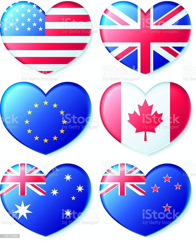 Patriotism - Flag Hearts! royalty-free stock vector art