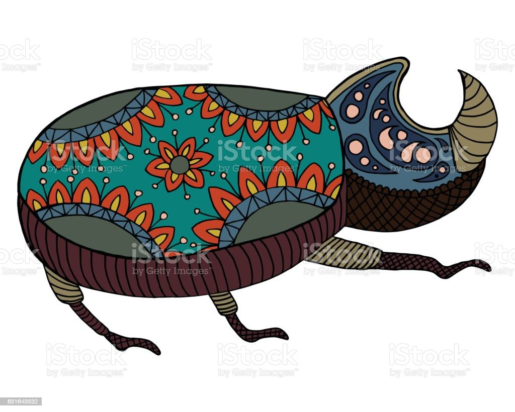 pattern and  doodle bug vector art illustration