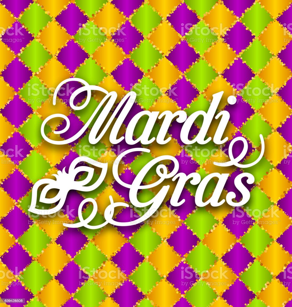 Pattern Background with Ornamental Text for Mardi Gras vector art illustration