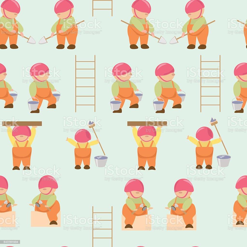 pattern cartoon builders working royalty-free stock vector art