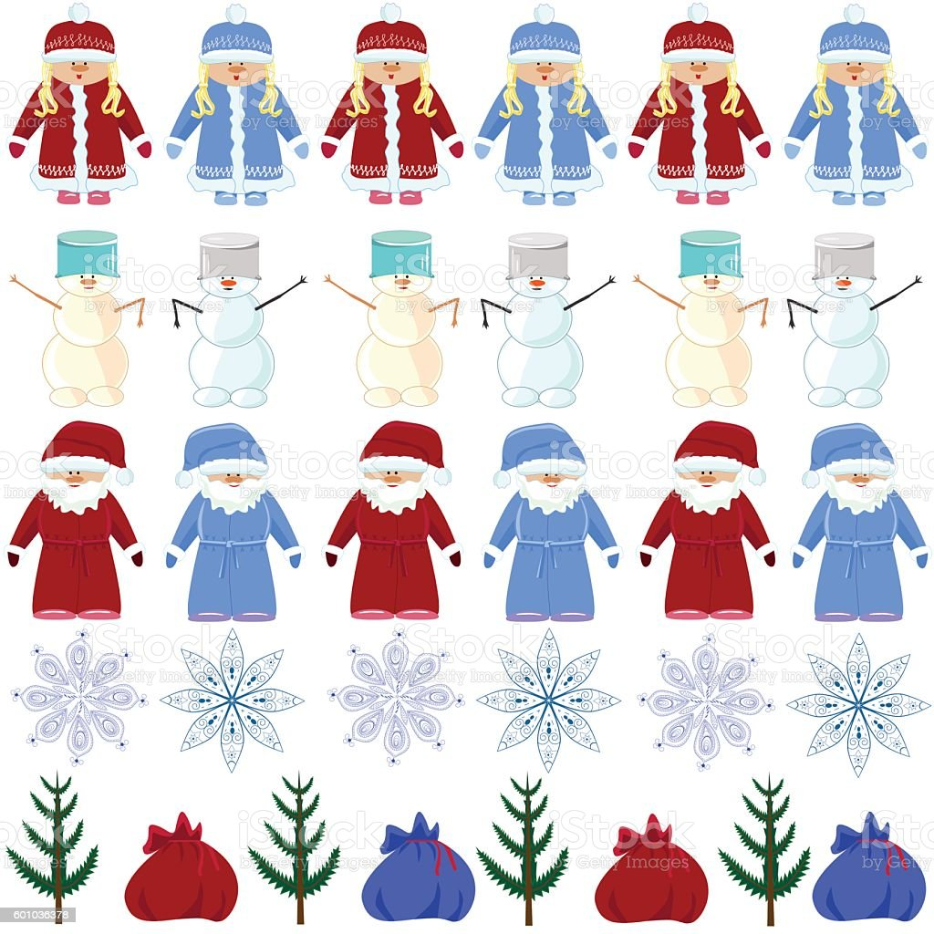 pattern Christmas Santa Claus, snow maiden, snowman blue, red royalty-free stock vector art