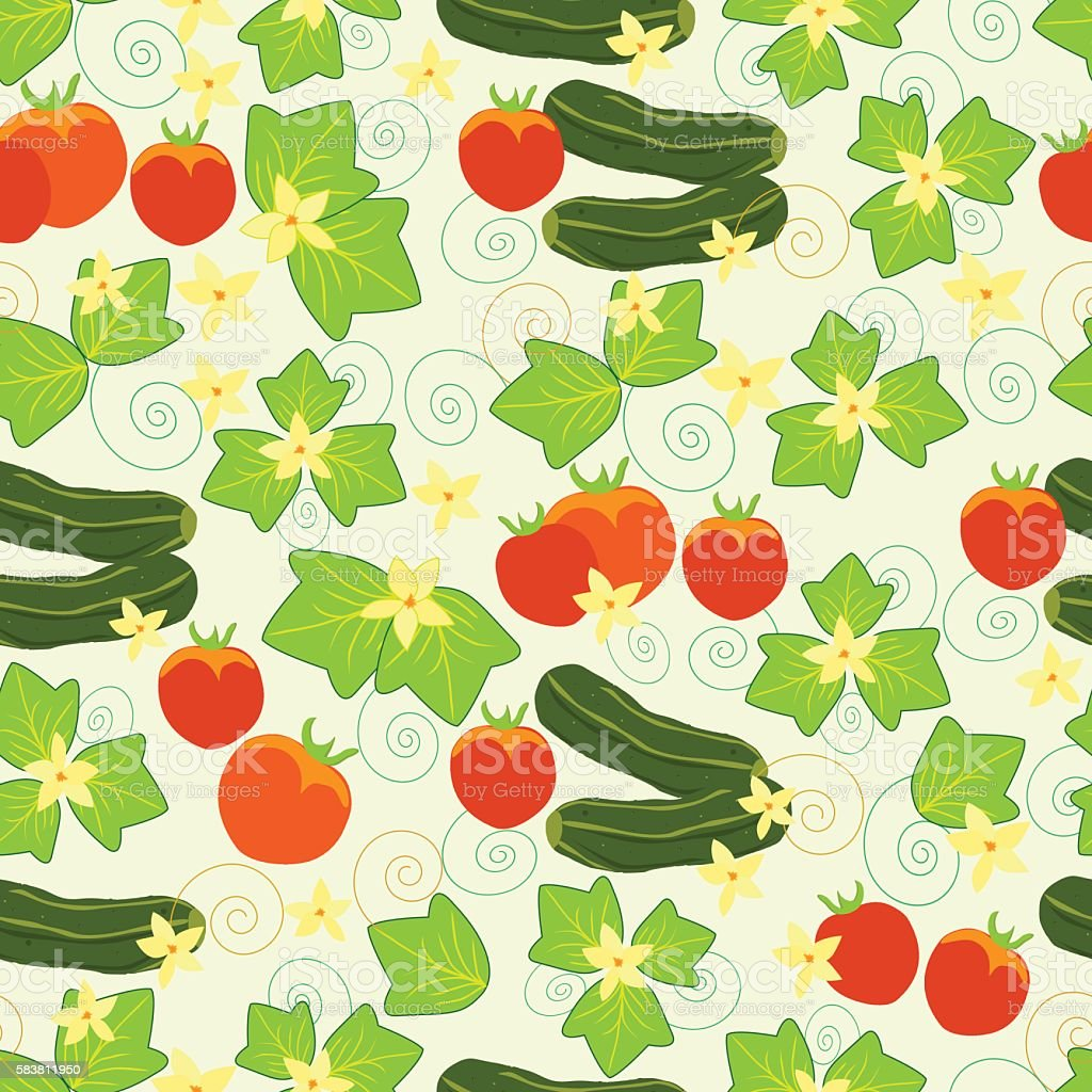 Pattern cucumbers, tomatoes, leaves and flowers royalty-free stock vector art