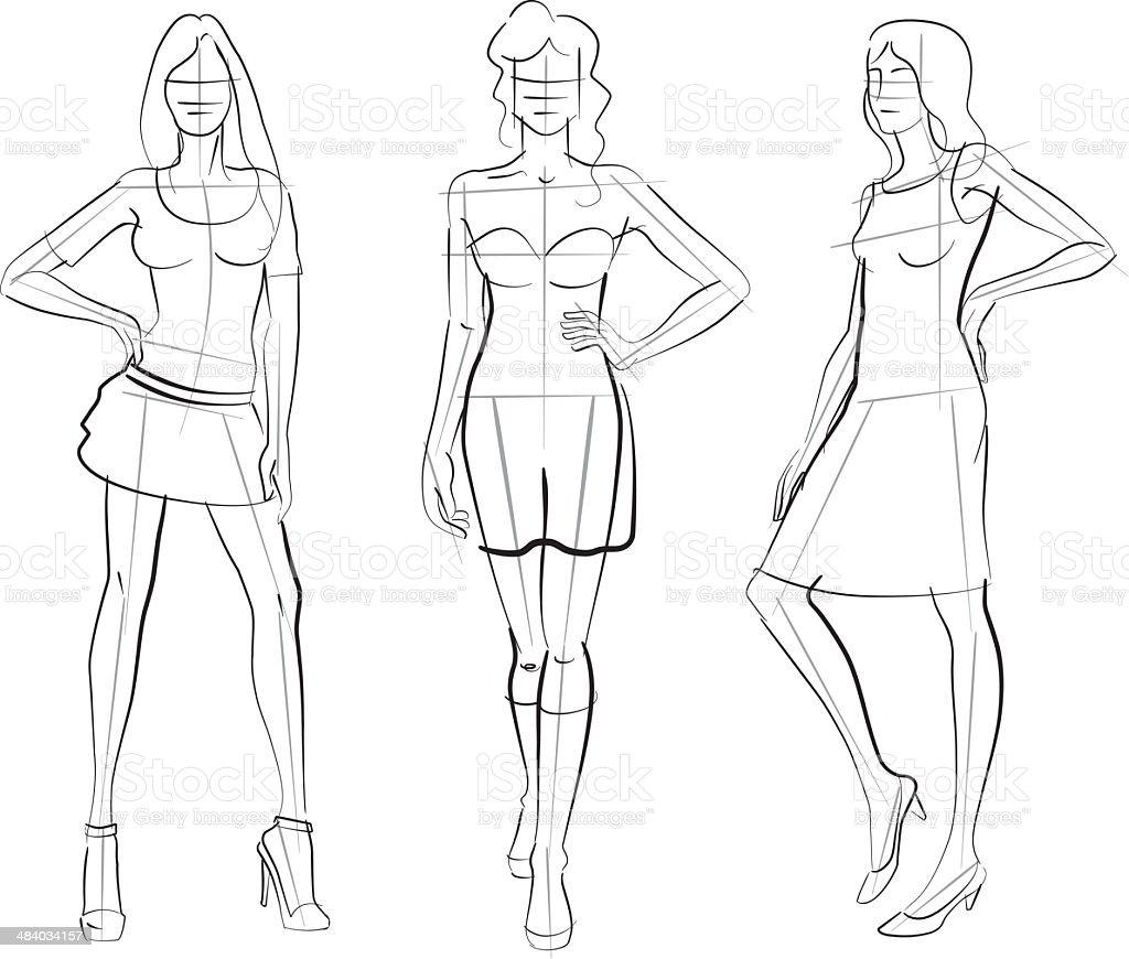 Pattern Fashion Models vector art illustration