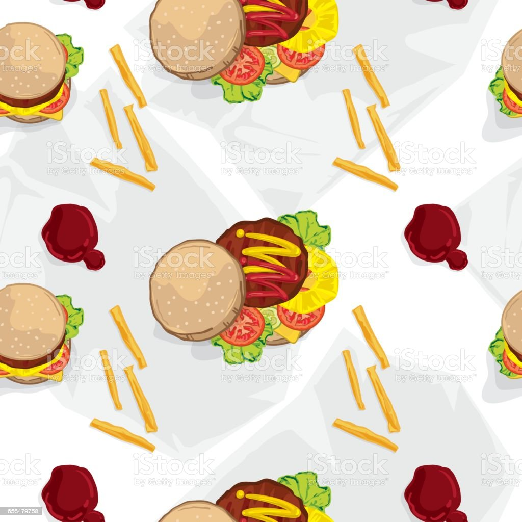 pattern fast food hamburger vector art illustration