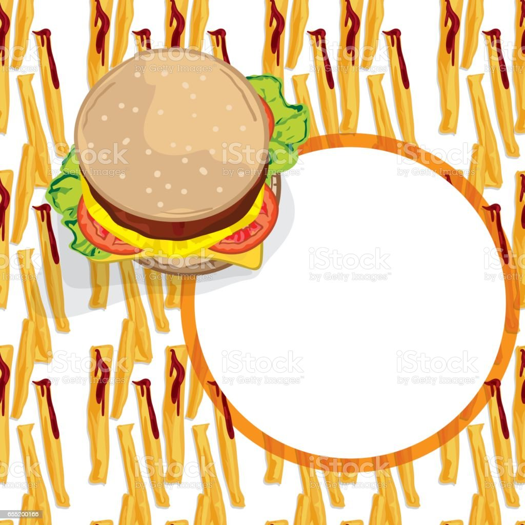 Pattern Food French Fries Hamburger Template Vektor Illustration