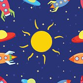 Pattern for children with space, rockets, Sun, stars and UFO