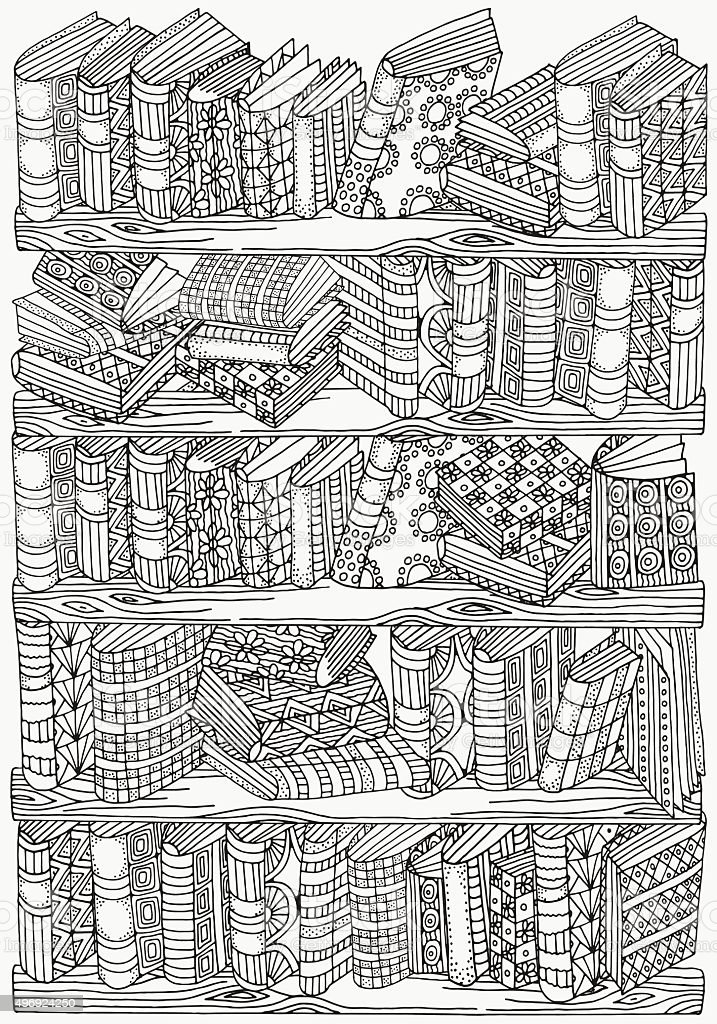 Pattern for coloring book. A4 size. Artistically books vector art illustration