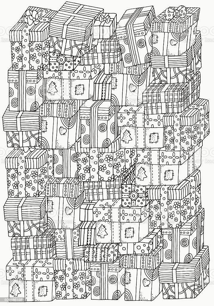 Pattern for coloring book. A4 size.  Pile of holiday gifts. vector art illustration