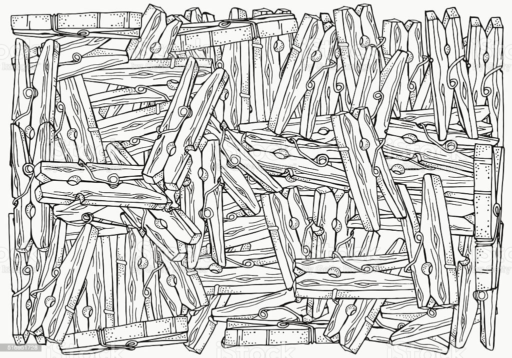 Pattern for coloring book. A4 size.  Wooden clothespins vector art illustration