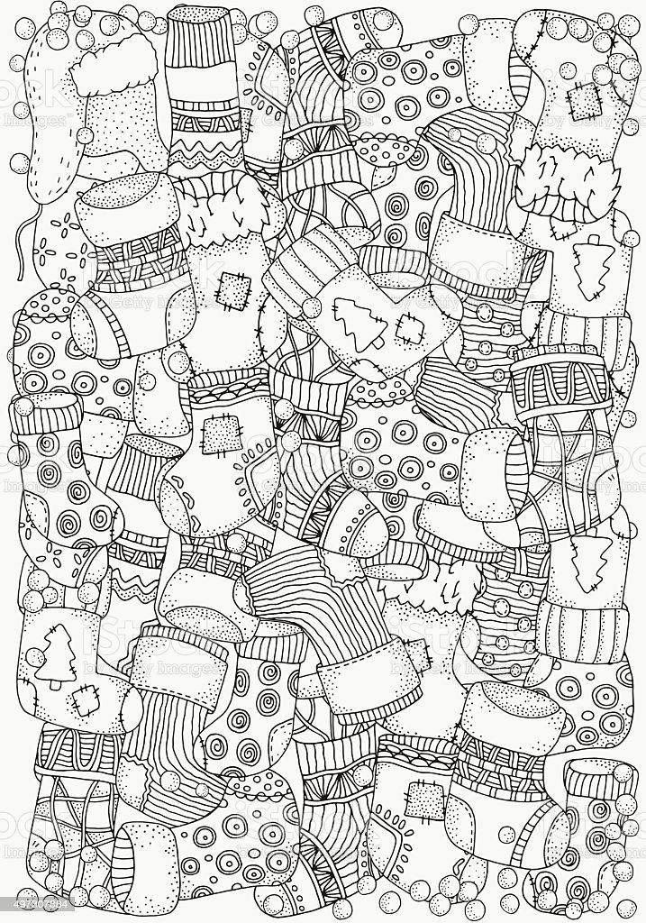 Pattern for coloring book. Christmas socks. vector art illustration