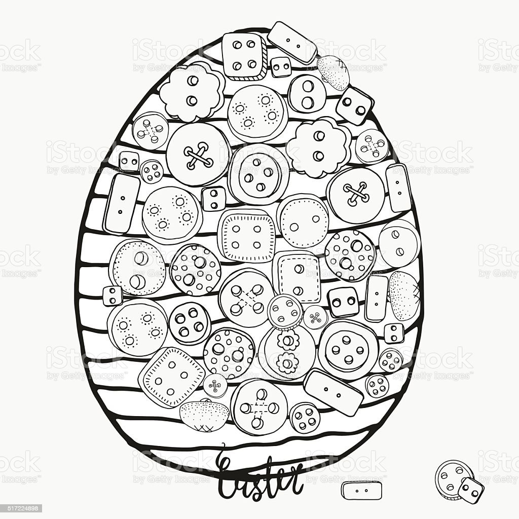 Pattern for coloring book. Easter egg. Clothes buttons vector art illustration