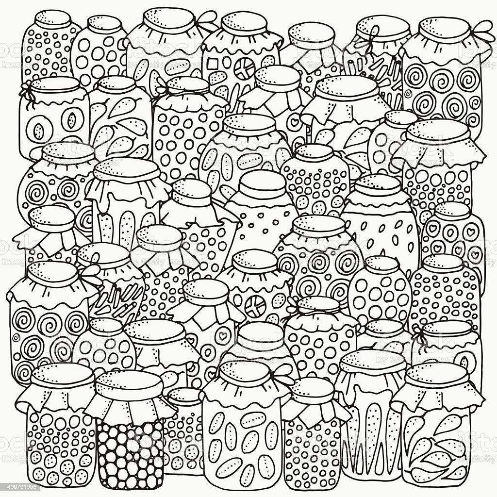 Pattern for coloring book. Set of glass jars. Canning. vector art illustration