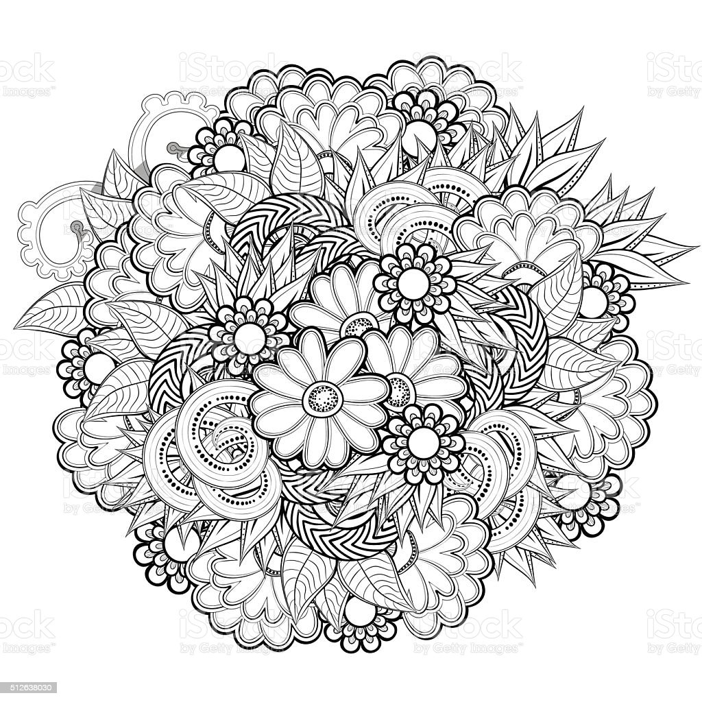 Pattern for Coloring book with abstract flowers vector art illustration