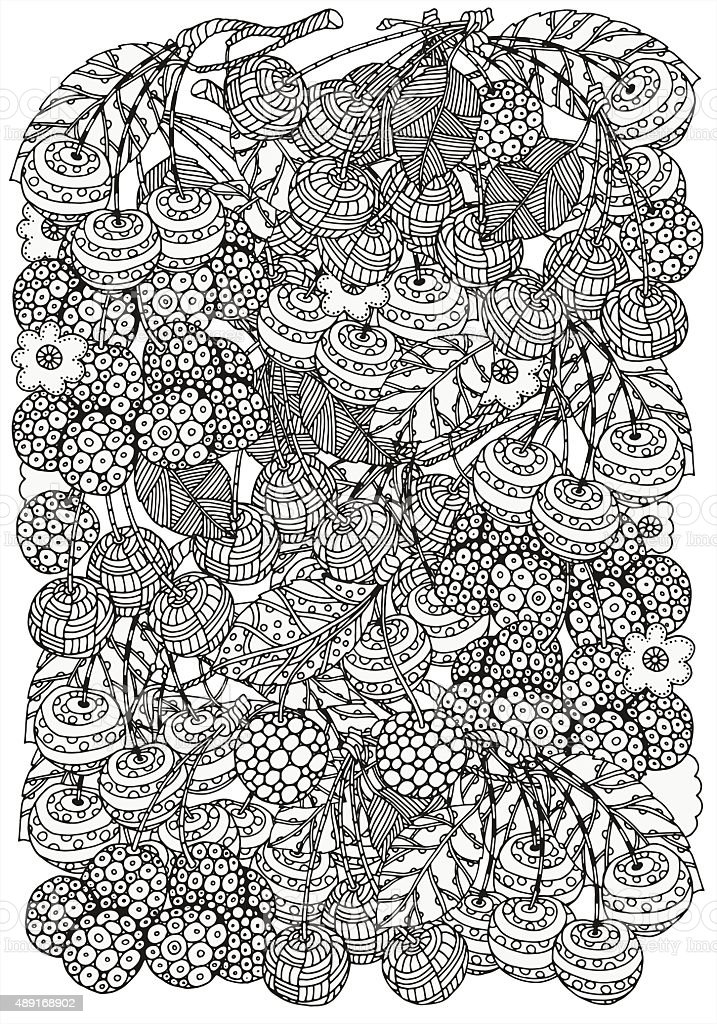 Pattern for coloring book with  artistically cherries A4 vector art illustration
