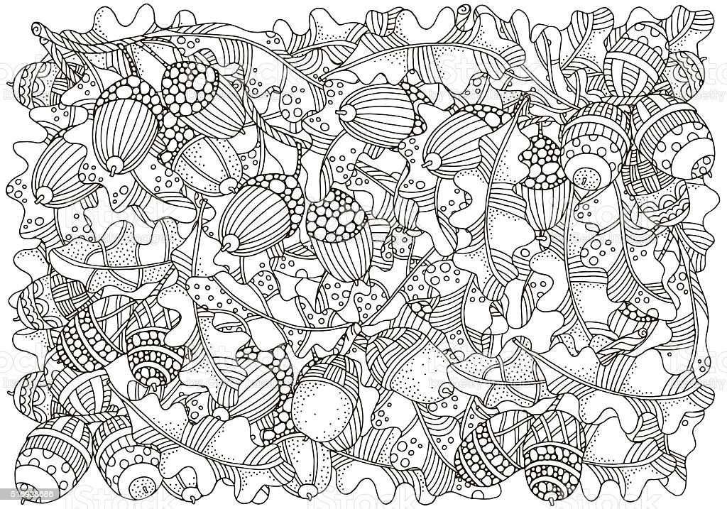 Pattern for coloring book with  artistically hand drawn oak acorns vector art illustration