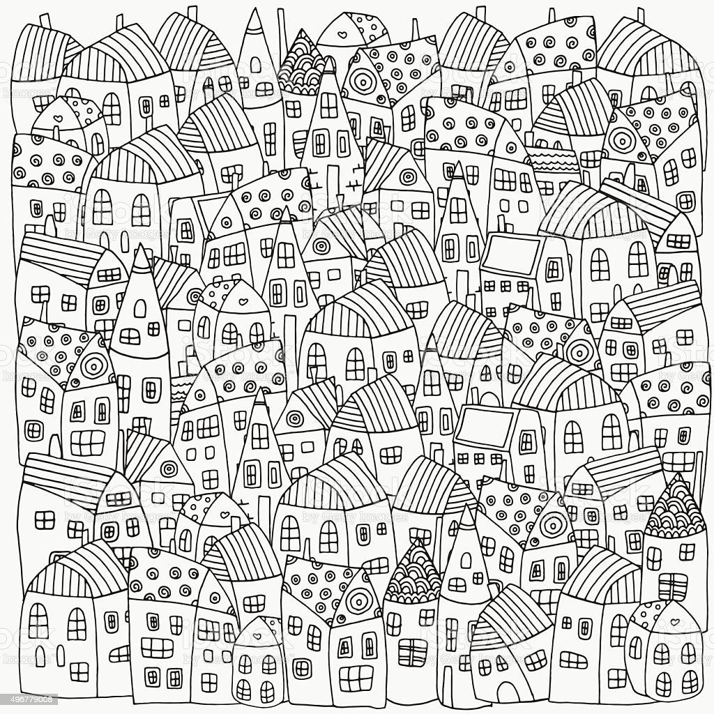 Th the magical city colouring in book - Pattern For Coloring Book With Artistically Houses Magic City Royalty Free Stock Vector Art